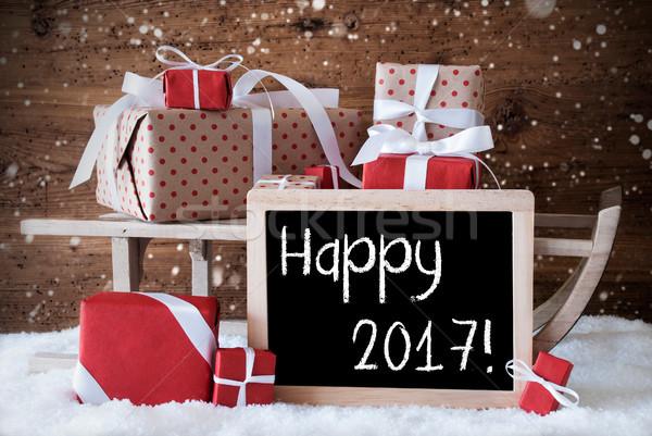 Stockfoto: Slee · geschenken · sneeuw · sneeuwvlokken · tekst · gelukkig