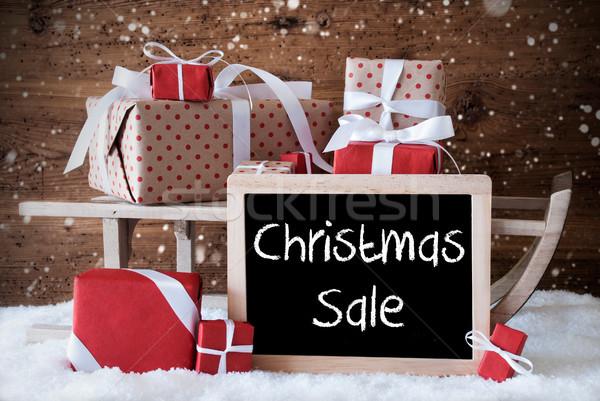 Stockfoto: Slee · geschenken · sneeuw · sneeuwvlokken · tekst · christmas