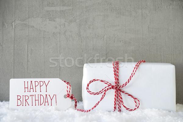 Uno regalo urbanas cemento texto feliz cumpleaños Foto stock © Nelosa