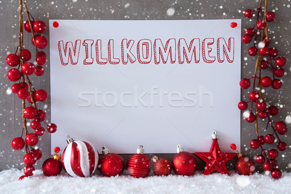 Label, Snowflakes, Christmas Balls, Willkommen Means Welcome Stock photo © Nelosa