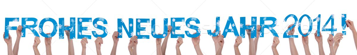 Many People Holding a Blue Frohes Neues Jahr 2014 Stock photo © Nelosa
