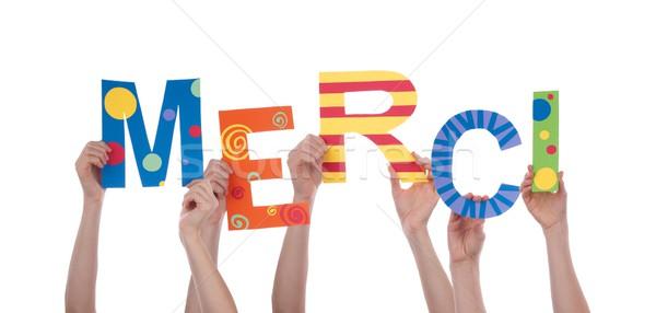 Muitos mãos colorido francês palavra Foto stock © Nelosa