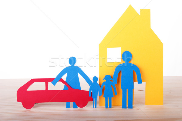 Paper Family with Car and House Stock photo © Nelosa