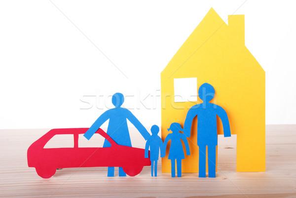 бумаги семьи автомобилей дома красочный цепь Сток-фото © Nelosa