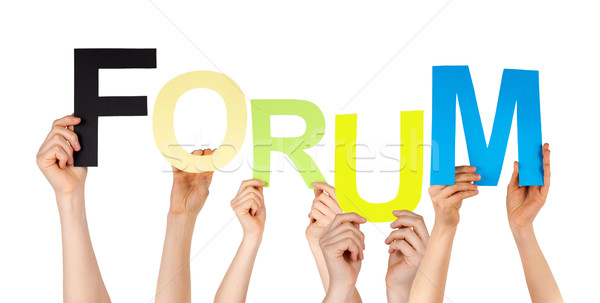Many People Hands Holding Colorful Word Forum Stock photo © Nelosa