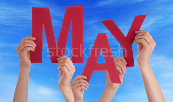 Many People Hands Holding Red Word May Blue Sky Stock photo © Nelosa