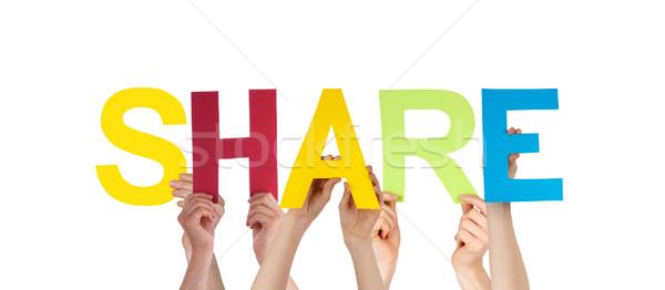 Stockfoto: Mensen · handen · kleurrijk · rechtdoor · woord