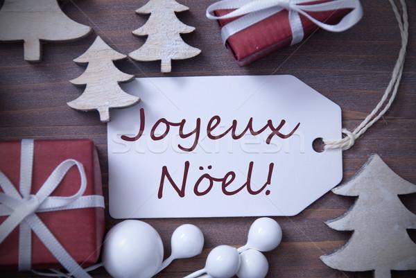 Label Gift Tree Joyeux Noel Means Merry Christmas Stock photo © Nelosa