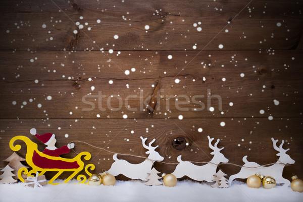 Santa Claus Sled, Reindeer, Snowflakes, Copy Space, Golden Ball Stock photo © Nelosa