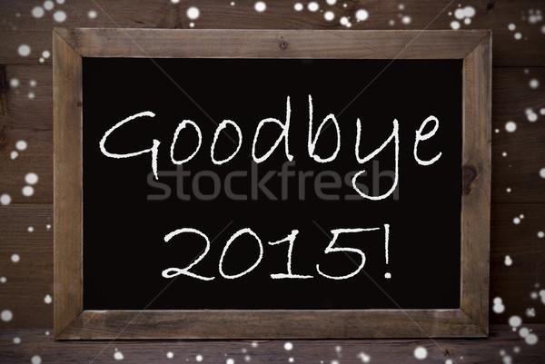 Tábla viszlát 2015 hópelyhek barna iskolatábla Stock fotó © Nelosa