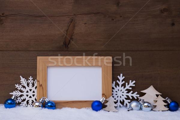 ストックフォト: 青 · クリスマス · 装飾 · 雪 · コピースペース · 白