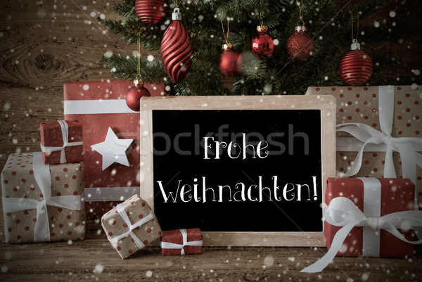 Nostalgic Tree, Snowflakes, Frohe Weihnachten Means Merry Christ Stock photo © Nelosa