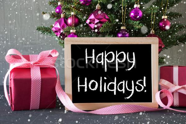árvore presentes flocos de neve texto feliz férias Foto stock © Nelosa