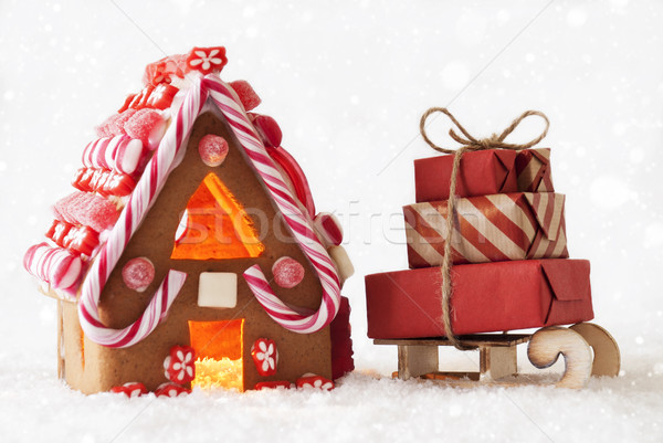 Gingerbread House And Snowflakes, Sled With Gifts Stock photo © Nelosa