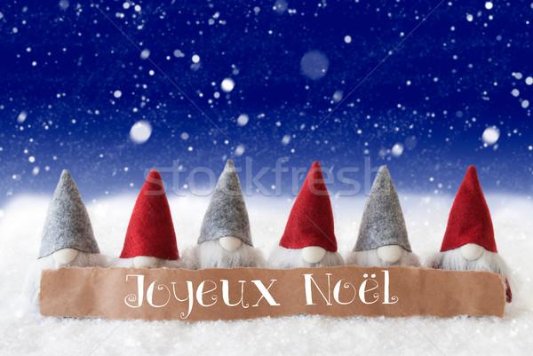 Gnomes, Blue Background, Snowflakes, Joyeux Noel Means Merry Christmas Stock photo © Nelosa