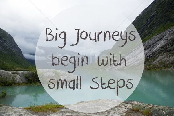 Lake With Mountains, Norway, Quote Big Journeys Begin Small Steps Stock photo © Nelosa
