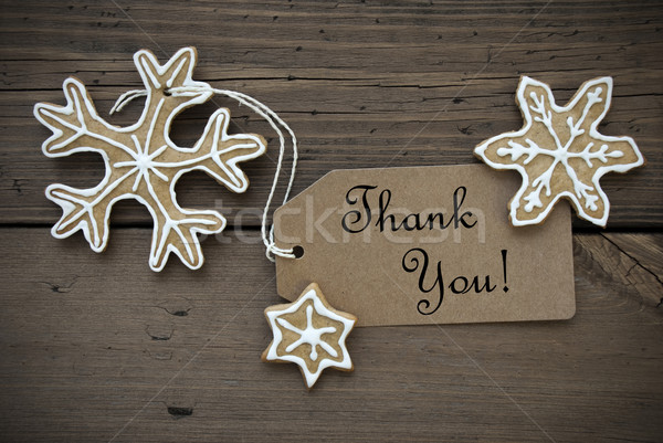 Thank You Banner with Ginger Bread Snowflakes Stock photo © Nelosa