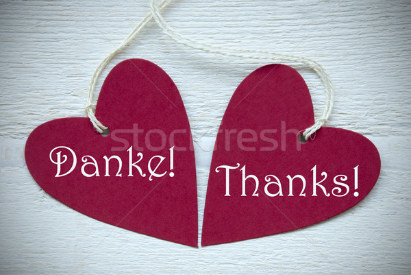 Two Red Hearts Label With Thank You In English And German Stock photo © Nelosa