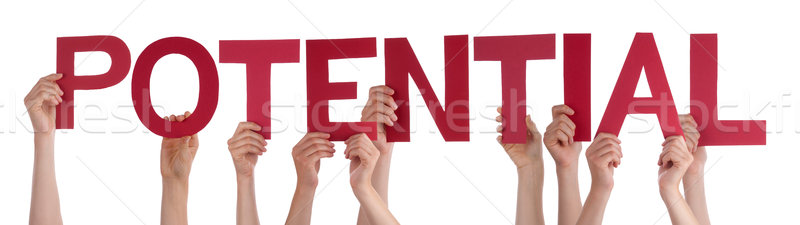 People Hands Holding Red Straight Word Potential  Stock photo © Nelosa