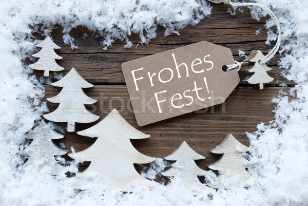Label Trees Snow Frohes Fest Means Merry Christmas Stock photo © Nelosa