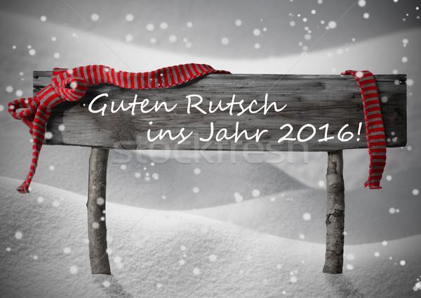 Christmas Sign Rutsch Jahr 2016 Mean New Year Snow, Snowflakes Stock photo © Nelosa