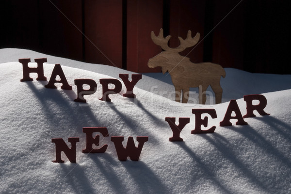 Stock fotó: Karácsonyi · üdvözlet · jávorszarvas · hó · boldog · új · évet · piros · levelek