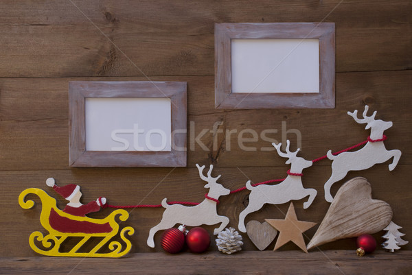 Santa Claus Sled, Reindeer, Christmas Decoration, Frames Stock photo © Nelosa