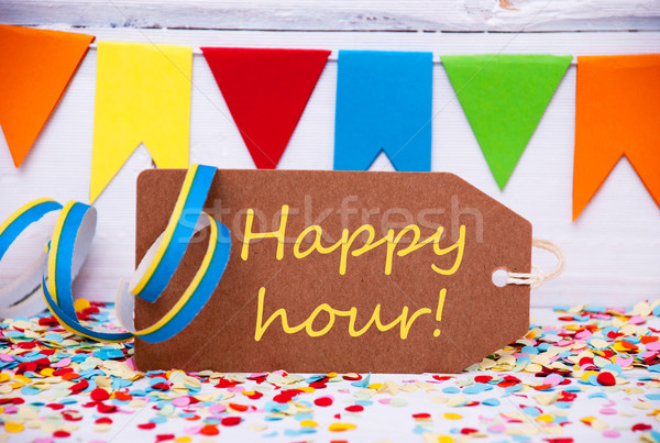 Label With Party Decoration, Text Happy Hour Stock photo © Nelosa