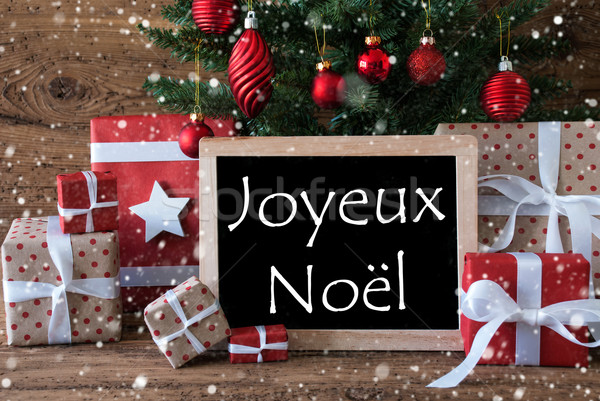 Colorful Tree With Snowflakes, Joyeux Noel Means Merry Christmas Stock photo © Nelosa