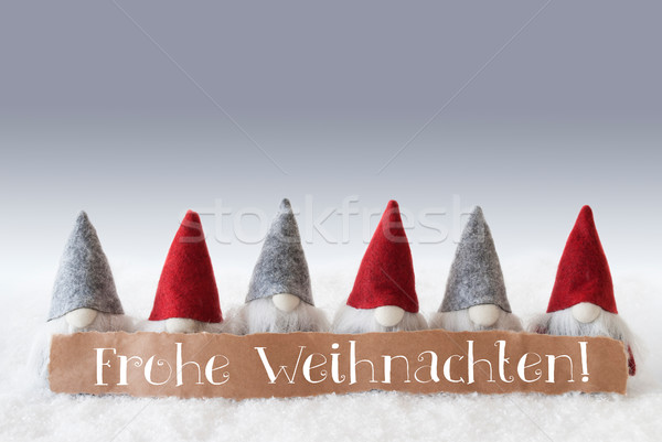 Gnomes, Green Background, Frohe Weihnachten Means Merry Christmas Stock photo © Nelosa