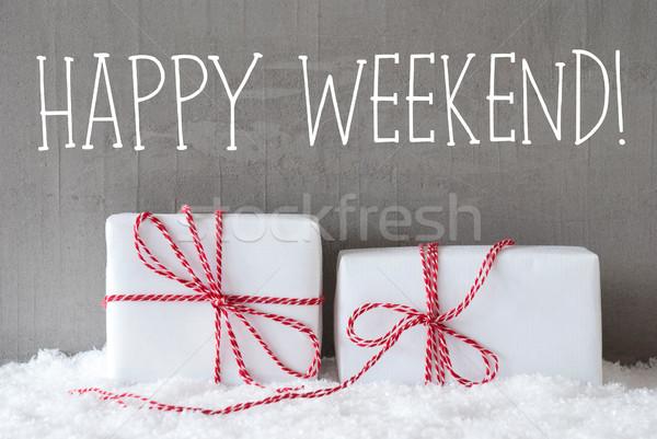 Twee geschenken sneeuw tekst gelukkig weekend Stockfoto © Nelosa