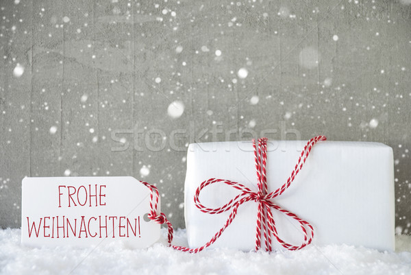 Gift, Cement Background With Snowflakes, Frohe Weihnachten Means Stock photo © Nelosa