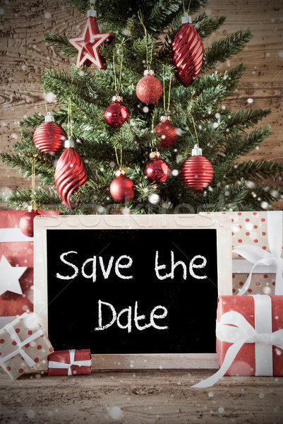 Nostalgic Christmas Tree, English Text Save The Date Stock photo © Nelosa