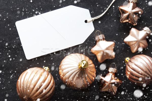 Bronz karácsony golyók hópelyhek szöveg boldog Stock fotó © Nelosa