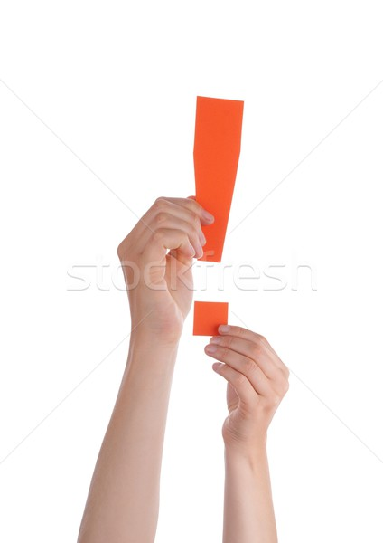Hands Holding a Orange Interrogation Mark Stock photo © Nelosa