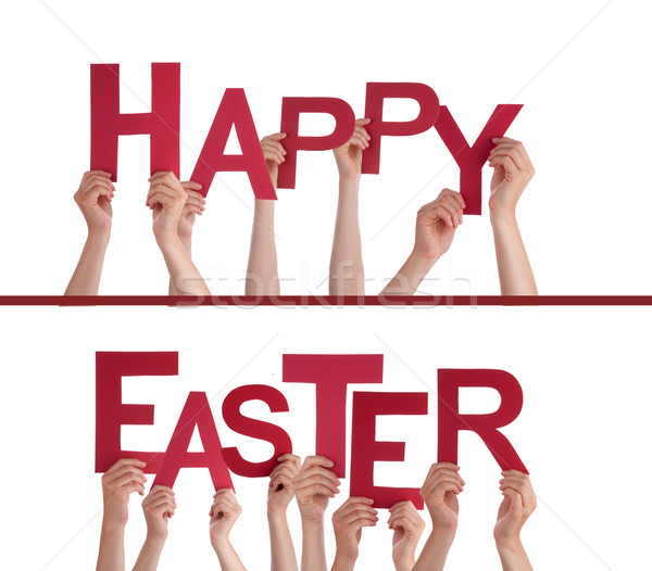 Hands Holding Happy Easter Stock photo © Nelosa