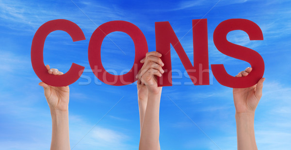 Many People Hands Holding Red Straight Word Cons Blue Sky Stock photo © Nelosa