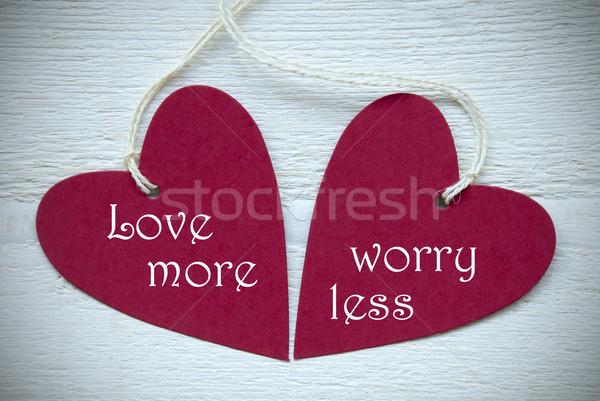 Dois vermelho corações amor mais Foto stock © Nelosa