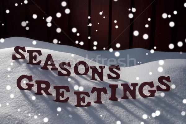 Christmas Word Seasons Greetings Snow Snowflakes Stock photo © Nelosa