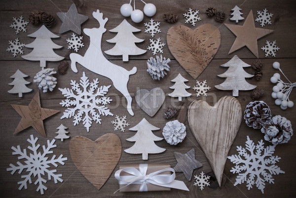 Many Christmas Decoration,Heart,Snowflakes,Star,Present,Reindeer Stock photo © Nelosa