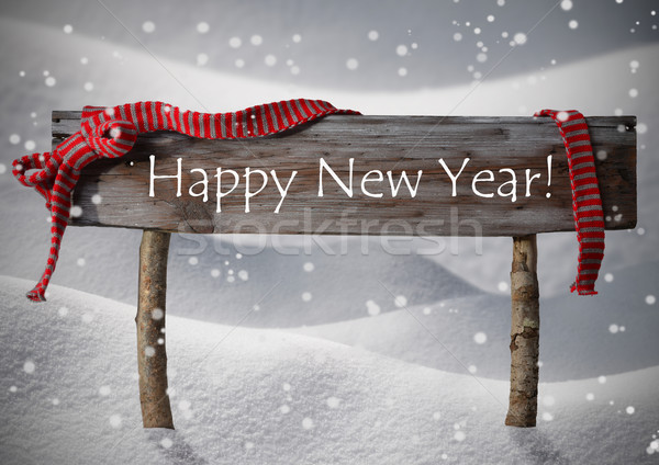 Stock photo: Brown Christmas Sign Happy New Year Snow, Red Ribbon, Snowflake