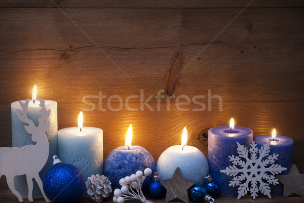 Christmas Card With Blue Candles, Reindeer, Ball Stock photo © Nelosa