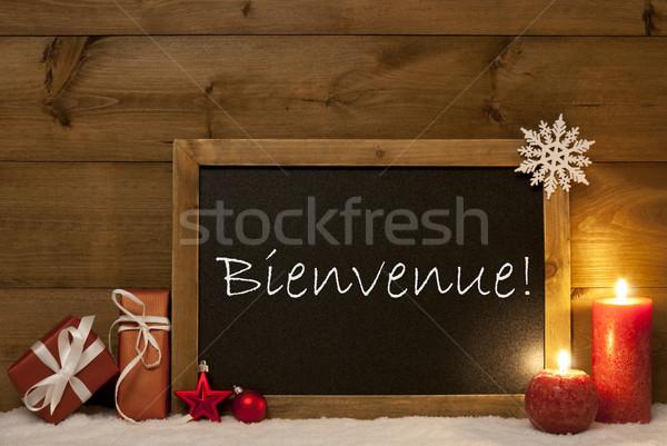 Festive Christmas Card, Blackboard, Snow, Bienvenue Mean Welcome Stock photo © Nelosa