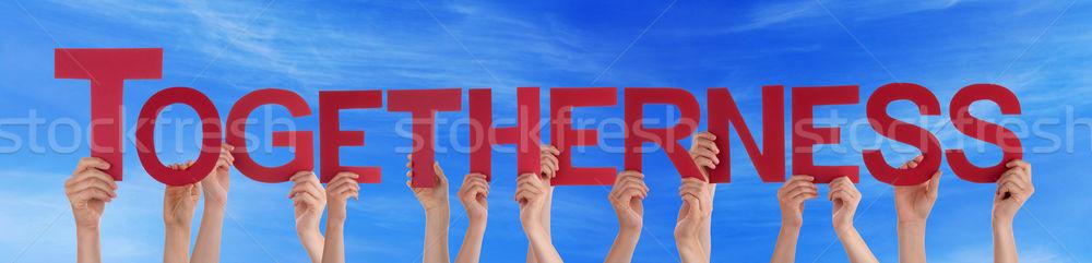 多くの 人 手 赤 ストレート ストックフォト © Nelosa