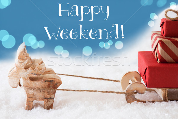 Reindeer, Sled, Light Blue Background, Text Happy Weekend Stock photo © Nelosa