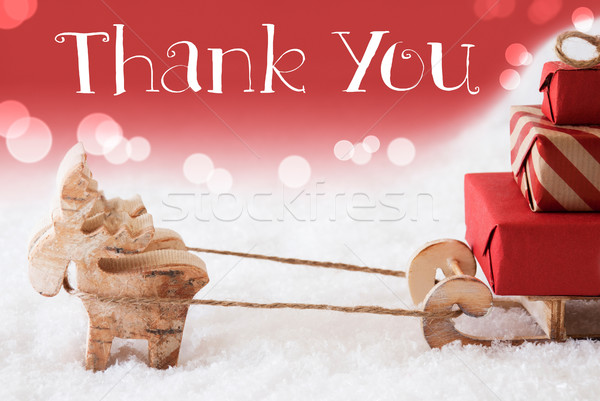 Reindeer With Sled, Red Background, Text Thank You Stock photo © Nelosa