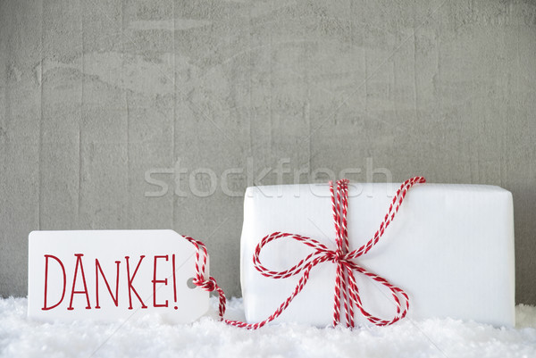 One Gift, Urban Cement Background, Danke Means Thank You Stock photo © Nelosa