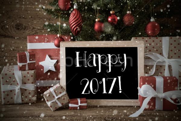 Nosztalgikus karácsonyfa boldog hópelyhek karácsonyi üdvözlet évszakok Stock fotó © Nelosa