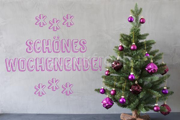 árbol de navidad cemento pared feliz fin de semana púrpura Foto stock © Nelosa
