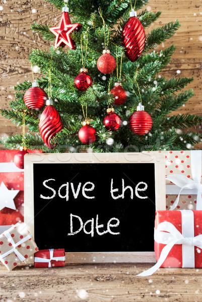 Colorful Christmas Tree, Snowflakes, English Text Save The Date Stock photo © Nelosa